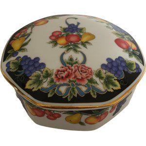 Vtg Japan Fruit Cache Lidded Dish Jar Pot